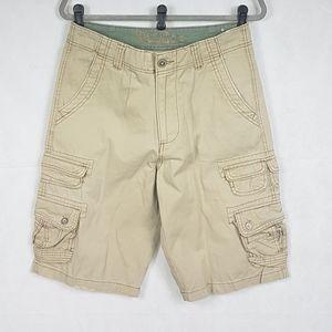 VTG Plugg Mens Khaki Beige Cargo Shorts Size 30